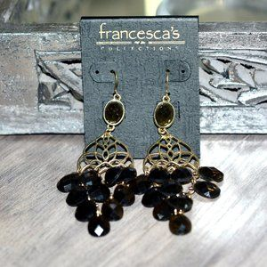 FRANCESCA'S Gold Faceted Stone Chandelier Earrings